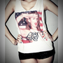 Lana Del Rey Shirt US Flag Crop Top Tank Tops T-Shirt Women Size S, M, L
