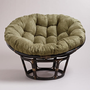Olive Microsuede Papasan Chair Cushion
