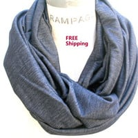 Lightweight Blue Jean Infinity Scarf  Scarves Denim  Acid Washed Blue Grey Scarf FREE Shipping Women Scarves Spring Gift - by PiYOYO