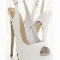 White Faux Patent Leather Peeptoe Slingback Platform Heels @ Amiclubwear Heel Shoes online store sales:Stiletto Heel Shoes,High Heel Pumps,Womens High Heel Shoes,Prom Shoes,Summer Shoes,Spring Shoes,Spool Heel,Womens Dress Shoes,Prom Heels,Prom Pumps,High
