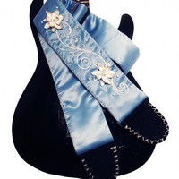Pastel Blue Floral Guitar Strap Hand Embroidered with Pearls | Coolstraps - Music/Instruments on ArtFire