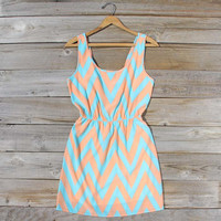 Peach Sky Chevron Dress, Sweet Women's Bohemian Clothing