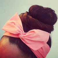 Salmon Dolly Bow Headband