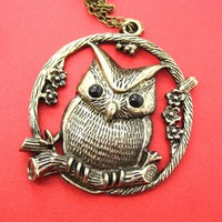 Large Owl Bird Animal Pendant Necklace in Bronze