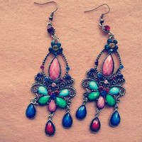 Vintage Style Chandelier Earrings , Handmade Brass Earrings , Antique Bronze Charm Colorful Gem Dangle Earring Metalwork