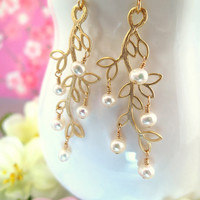 Pearl gold leaf dangle earrings