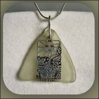 Sea Glass and Sun Tarot Card Sterling Silver Necklace | thesunnysidebiz - Jewelry on ArtFire