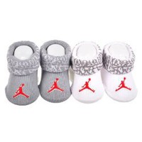 Amazon.com: Nike Jordan Jumpman Booties Socks Grey and White Baby Infant 0-6 Months, 2 Pairs.: Sports &amp; Outdoors