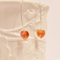 Stunning Red Coral Heart Swarovski Crystal Earrings