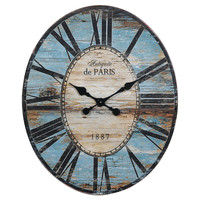 "One Kings Lane - Cottage Charm - 29"" Oval Paris Wall Clock, Turquoise"