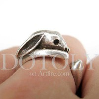 Miniature Bunny Rabbit Ring in Silver Sizes 4 to 9 available | dotoly - Jewelry on ArtFire