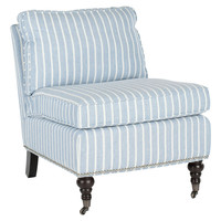 One Kings Lane - The Fine Print - Davis Armless Club Chair, Blue/White