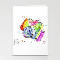 Watercolor Camera Stationery Cards by Trinity Bennett