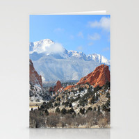Snow at the Garden of the Gods, Colorado Springs Stationery Cards by Trinity Bennett