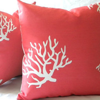 Decorative throw Pillow Cover Coral and White indoor by MicaBlue