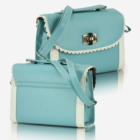 Turq Light Blue Lace Shoulder Bag/Satchel from TheFunKiss