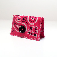 Business Card Holder - Country Western Bandana- Hot Pink Black - Gift Card Holder