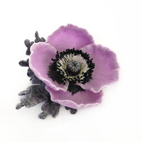 Felt flower lilac poppy with grey leaves - ready to ship