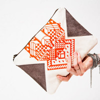SALE Geometrical Illusion Printed  Leather Pouch  by CORIUMI