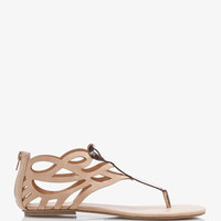 Faux Leather Cutout Thong Sandals | FOREVER 21 - 2039339068