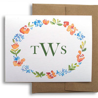 Personalized Monogram Stationery -  Watercolor Floral Border - Natural Envelopes  - Woodland Wedding Note Cards Set of 8