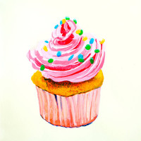 Pink Cupcake Original Acrylic Painting - Kitchen Art