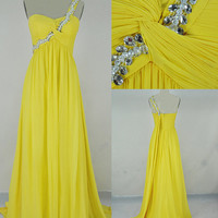 A-line One Shoulder Ruffles Sleeveless Floor-length Chiffon Prom Dresses