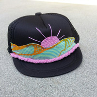Hand Stitched Trucker Hat infant black waves sun