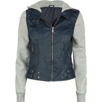 FULL TILT Fleece/Faux Leather Womens Hooded Jacket: Clothing