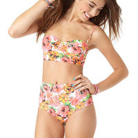 billabong floral underwire bandeau & billabong high waisted pant