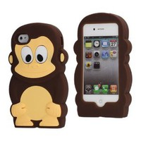 Amazon.com: Cute 3D Monkey Shaped Soft Protective Silicone Jelly Case for iPhone 4 4S - Coffee: Cell Phones &amp; Accessories