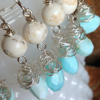 robins egg blue bridesmaid jewelry set baby blue beach destination wedding boho chic wire wrapped nests stone rustic wedding boho