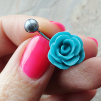 Turquoise Blue Rose Flower Belly Button Ring