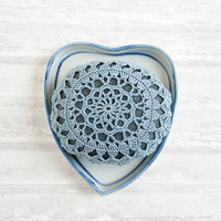 crochet lace stone // rustic beach // river rock // housewarming gift // cottage chic // Wedding decor // ring bearer pillow // bowl element