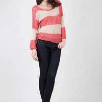 Peach & White Long Sleeve Striped Pullover