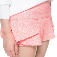 ANIMAL PRINT MINI SHORTS WITH FRILL