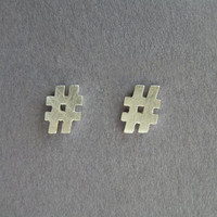 Silver Hashtag stud earrings  Twitter by DaliaShamirJewelry