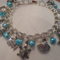 Seaside Charm bracelet  Beach Themed Charm by ChelseaJewels