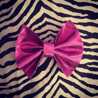 Metallic Pink Hair Bow Barrette by littledevildecoxo on Etsy