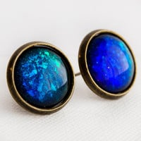 Blue & Green Mirage Earrings in Antique Bronze