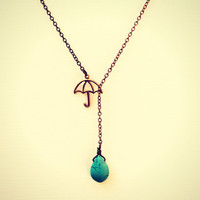 umbrella necklace with turquoise drop turquoise by alapopjewelry