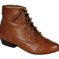 Indy-11, tan, women`s lace up flat booty, R11, size 9: Shoes