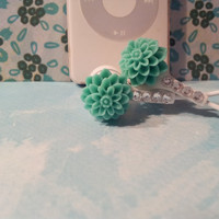 Beautiful  Seafoam Green  Dahlia Earbuds