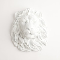 White Faux Taxidermy - Faux Taxidermied - The Walter - White Resin Lion Head- Resin White Faux Taxidermy- Chic & Trendy
