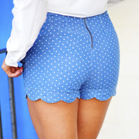 Sweetheart Scallop Shorts: Denim | Hope&#x27;s