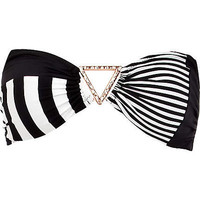 Black and white stripe panel bikini top - bikinis - swimwear / beachwear - women