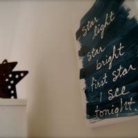 Blue nursery wall painting star light sign by chramberries on Etsy