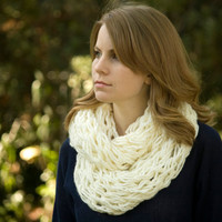 Knit Infinity Scarf, Cream Spring Cowl, Off White Women's Scarf