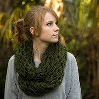 Olive Infinity Scarf, Knit Cowl, Dark Green Women&#x27;s Accessories