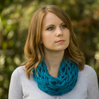 Teal Cowl, Knitted Spring Cowl, Statement Necklace, Blue